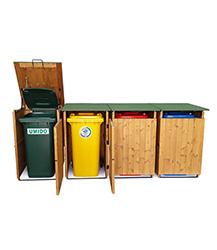 Ben noto Box portarifiuti in legno pattumiera porta secchi rifiuti raccolta JI63