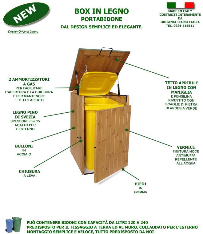 Preferenza Box Porta Bidoni Rifiuti Differenziata In Legno EF61